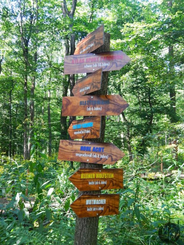 Wegweiser im Kletterwald