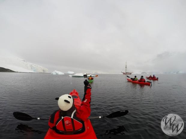 Kajak in der Antarktis. Im Hintergrund die Dagmar Aaen